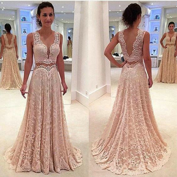 Deep V Neck 2017 Unique Long V Back Lace Prom Dresses, PM0243 - Prom Muse