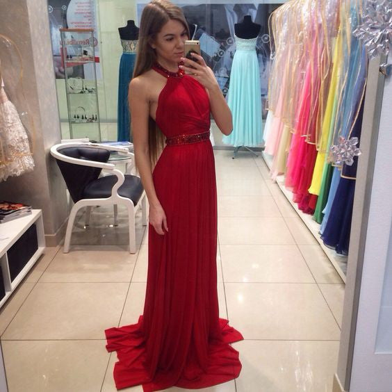 Red Halter Simple Formal Cheap Teenager Long Prom Dresses Pm0244
