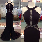 Black Mermaid Halter Sexy See Through Lace Prom Dresses, PM0245