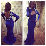 Royal Blue Long Sleeves Open Back Mermaid Prom Dresses, PM0246