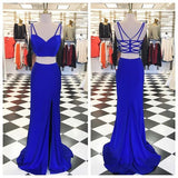 2 Pieces Royal Blue Backless Split Mermaid Long Prom Dresses, PM0249 - Prom Muse