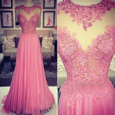 Pink Lace Seen Through Pretty Long Cheap Prom Dresses, PM0024