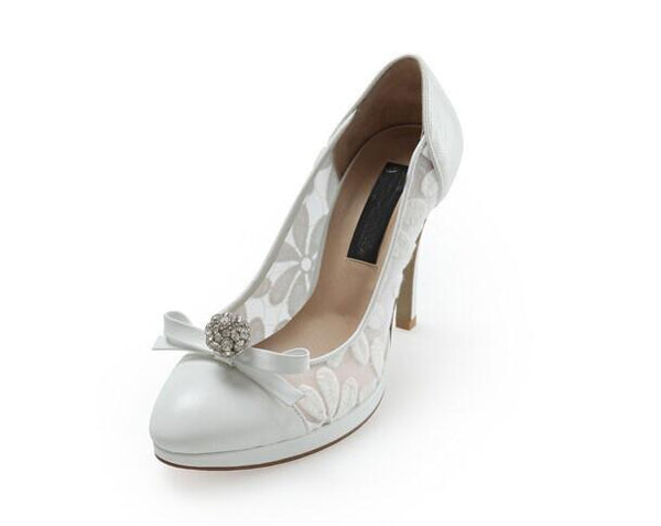 High Heels Pointed Toe White Lace Sexy Wedding Bridal Shoes, S022 - Prom Muse