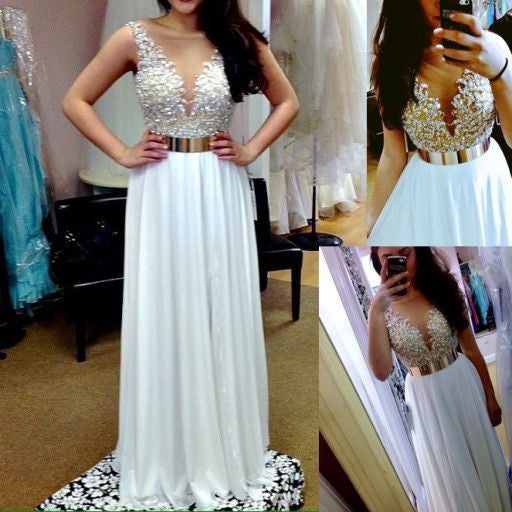 White Beaded Top Popular Teenage Pretty Long Prom Dresses, PM0252