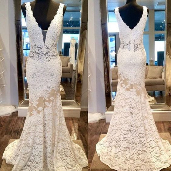 Ivory Lace Mermaid Sexy V Neck 2017 Long Prom Dresses, PM0255 - Prom Muse