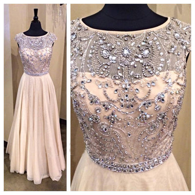 Popular Formal Cheap Beaded Top Long Prom Dresses, PM0025