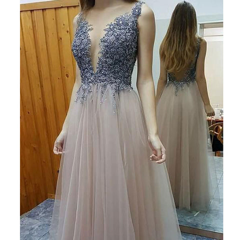 2017 Deep V Neck Sexy Backless Floor Length Prom Dresses, PM0260