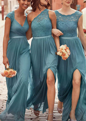 Charming Mismatched Chiffon Lace Elegant Long Wedding Party Bridesmaid Dresses, PM0805