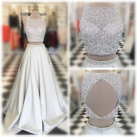 2 Pieces Beaded Top Open Back Ivory Long Prom Dresses, PM0263