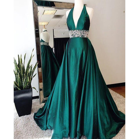 Elegant Teal Green Halter V Neck Open Back Long Prom Dresses, PM0265