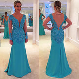 Turquoise Long Sleeves See Through Deep V Neck Lace Prom Dress, PM0026