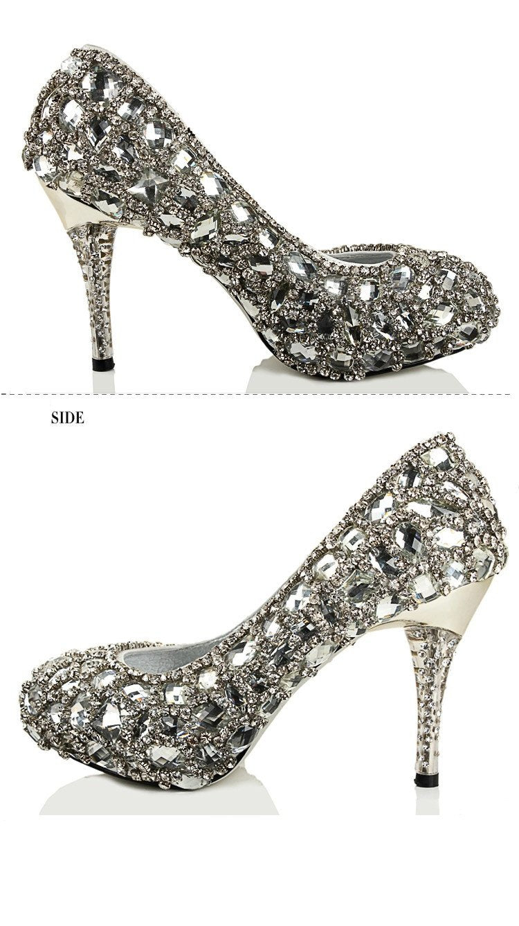 Sparkly Crystal High Heels Pointed Toe Rhinestone Wedding Bridal Shoes, S023