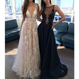 Deep V Neck Sexy Long Tulle Applique Inexpensive Evening Prom Dresses, PM0272 - Prom Muse