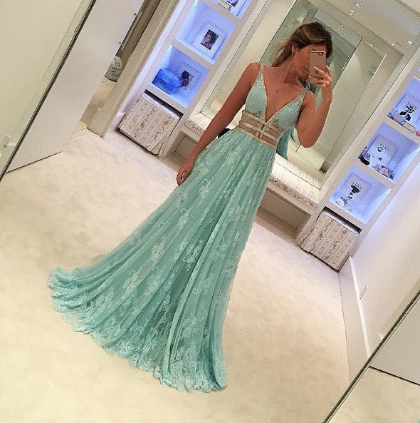 Beautiful Long Lace Blue Deep V Neck Sexy Evening Prom Dresses, PM0273 - Prom Muse
