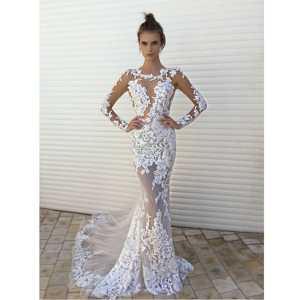 Sexy Long Sleeves Mermaid Sexy Seen Through Long Lace Prom Wedding Dresses, PM0274