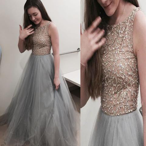Beaded Top Affordable Tulle Charming Long Evening Prom Dresses, PM0276