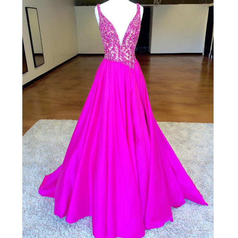 Charming Deep V Neck Beaded Top Elegant Long Evening Prom Dresses, PM0278 - Prom Muse