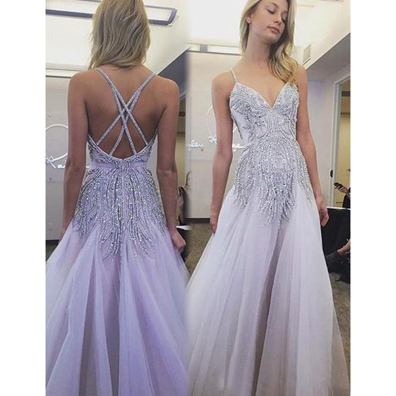 Charming Unique 2017 Tulle Inexpensive Long Evening Prom Dresses, PM0281 - Prom Muse