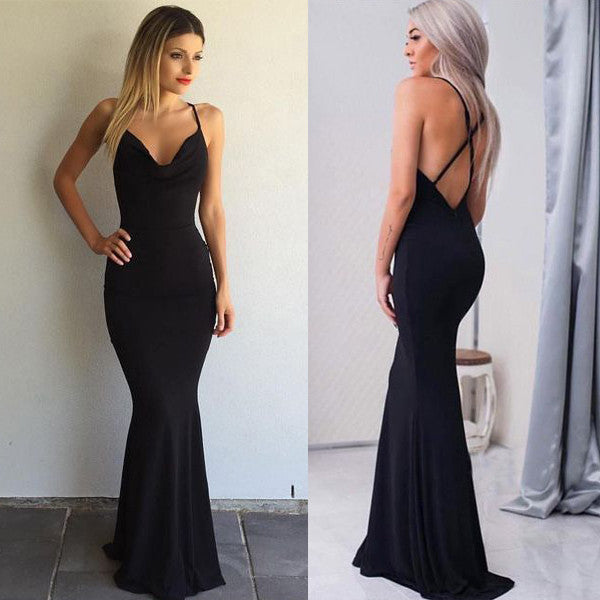 Black Sexy Open Cross Back Mermaid Simple Cheap Long Prom Dresses, PM0284 - Prom Muse