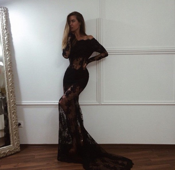 Black Sexy Long Sleeves Off the Shoulder Seen Through Mermaid Long Prom Dresses, PM0285 - Prom Muse