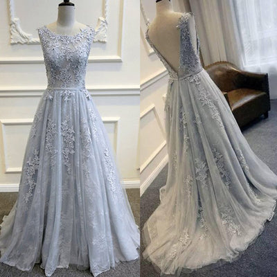 Pretty Tulle Applique Teenagers Inexpensive Formal Long Prom Dresses, PM0287