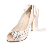 Pink Crystal High Heels Pointed Toe Rhinestone Wedding Bridal Shoes, S025 - Prom Muse