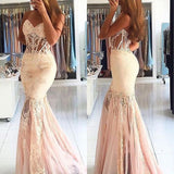 Sweetheart Sexy Mermaid Seen Through Applique Long Evening Prom Dresses, PM0291