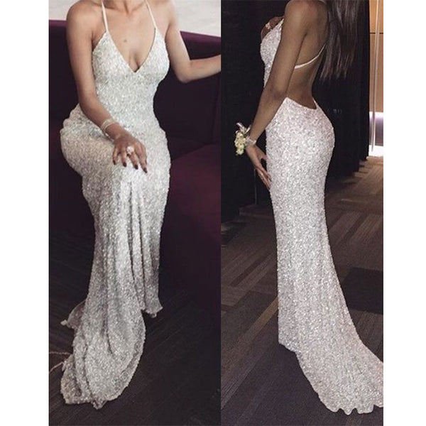 Sexy Halter Open Back Sequin Shinning Cheap Long Prom Dresses, PM0293