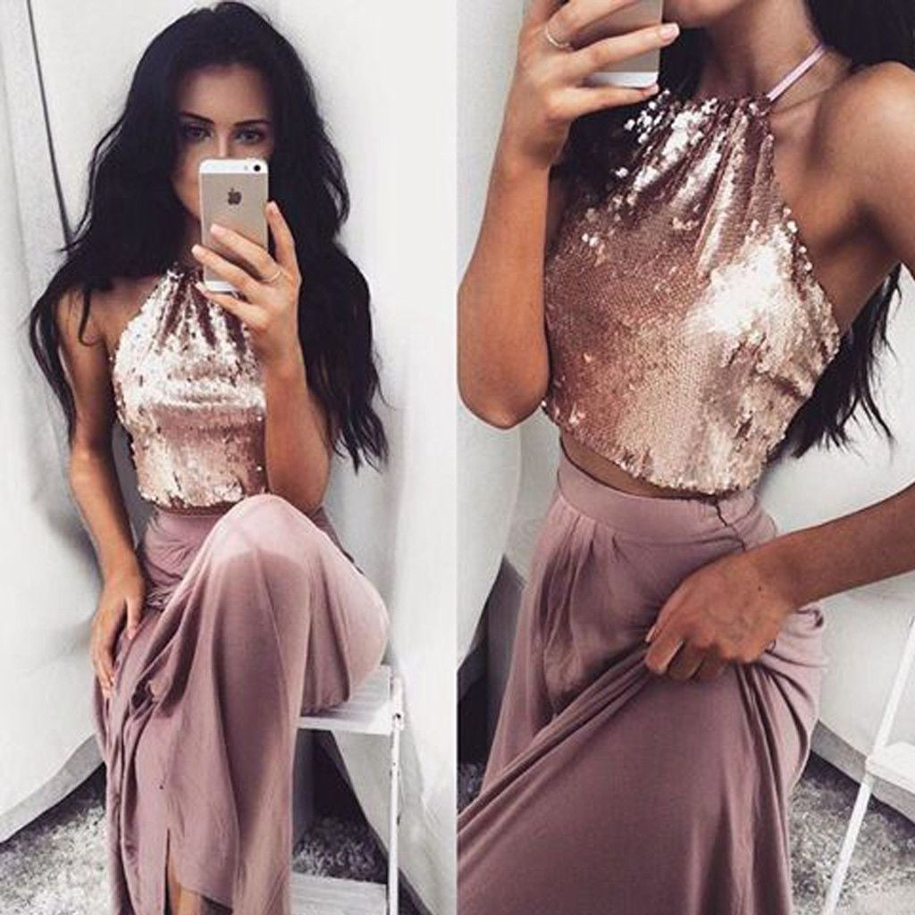 Two Pieces Beach Halter Sequin Top On Sale Long Prom Dresses, PM0296