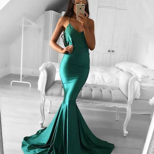 Cheap Green Mermaid Simple Long Bridesmaid Prom Dresses, PM0298 - Prom Muse