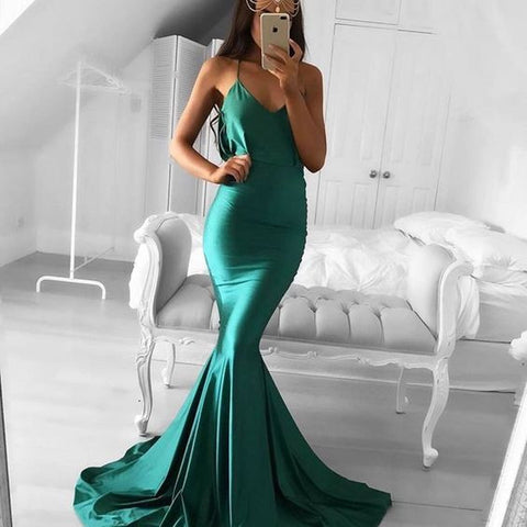 Cheap Green Mermaid Simple Long Bridesmaid Prom Dresses, PM0298