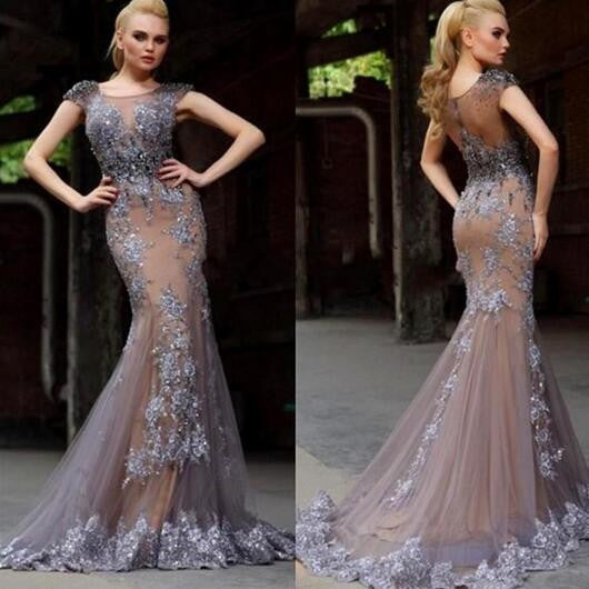 Cap Sleeves Mermaid Gorgeous Long 2017 Prom Dresses, PM0029 - Prom Muse