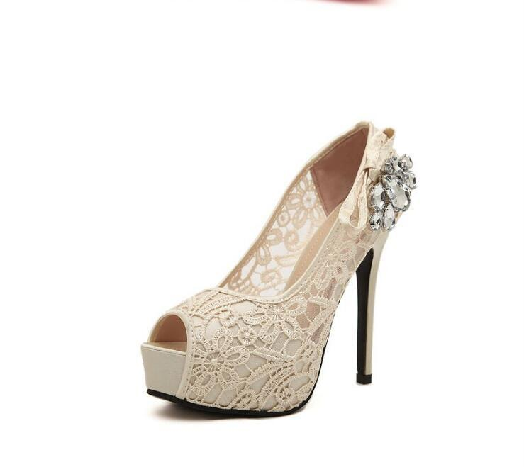 Hand Made High Heels Fish Toe Lace Sexy Wedding Bridal Shoes, S037 - Prom Muse