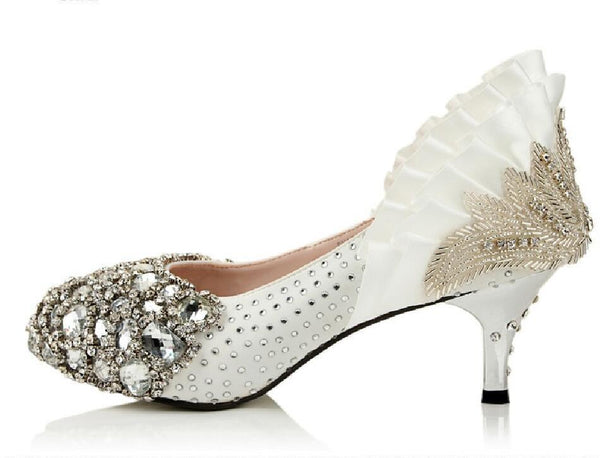 Handmade Middle High Heels Pointed Toe Crystal Wedding Shoes, S003 - Prom Muse