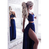 Royal Blue Two Pieces Side Slit Long Sexy Beach Prom Dresses, PM0301