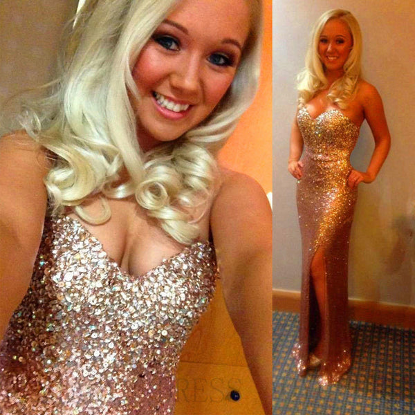 Gold Sweetheart Heavy Beaded Side Slit Long Prom Dresses, PM0030 - Prom Muse