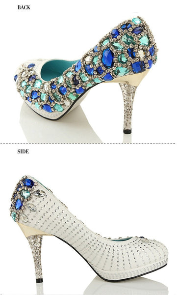 Four Colors Handmade Rhinestone High Heels Pointed Toe Crystal Wedding Shoes, S028 - Prom Muse