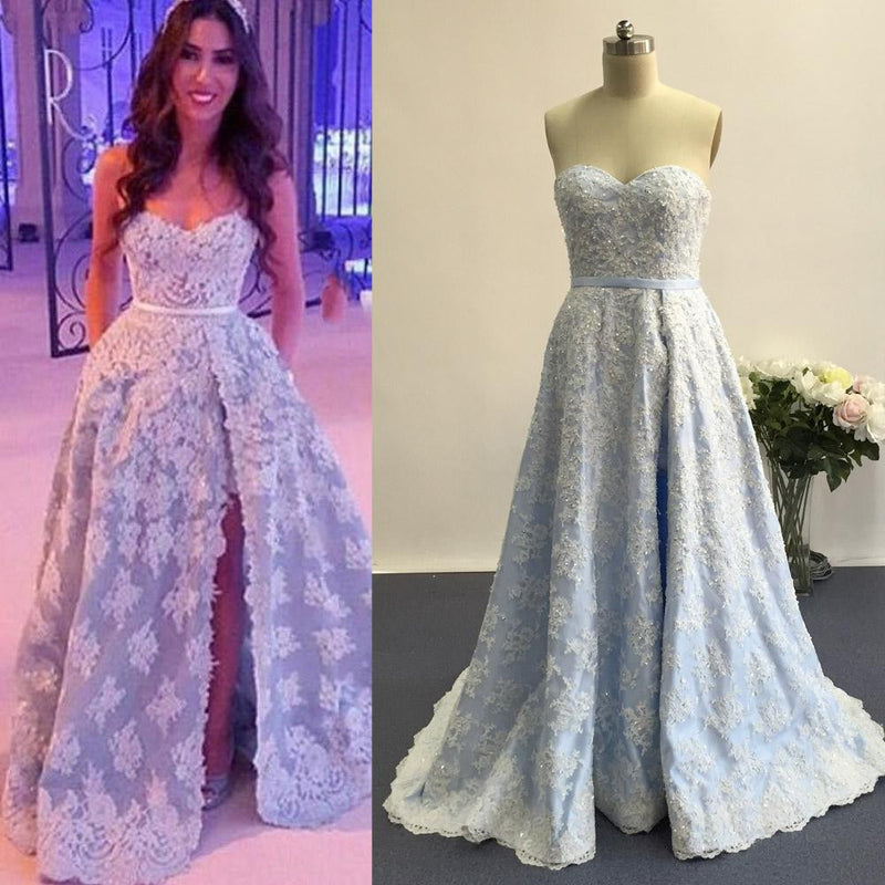 Blue Sweetheart Side Split Applique Long Lace Prom Dresses, PM0032 - Prom Muse