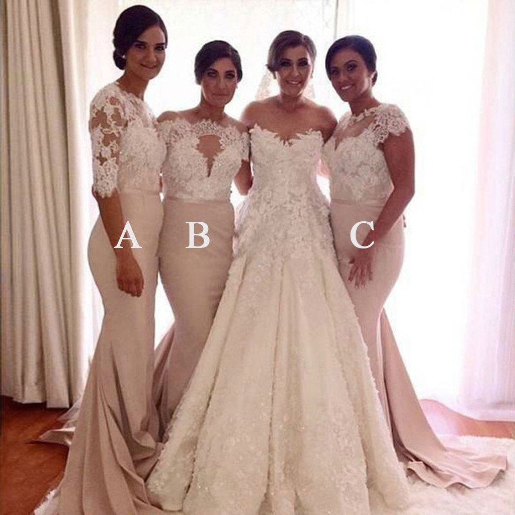 Affordable Mismatched Lace Mermaid Long Wedding Bridesmaid Dresses, WG331