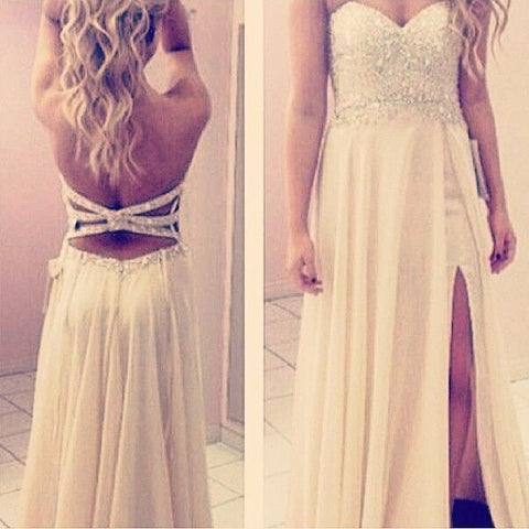 Ivory Sweetheart Side Split Open Back Long Prom Dresses, PM0033