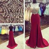 Burgundy Side Slit Open Back Beaded Long Prom Dresses, PM0034 - Prom Muse