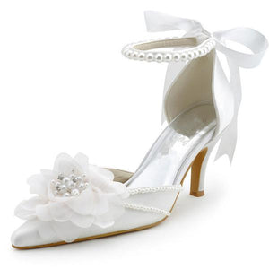 Pearls Women Wedding Shoes With Ribbons Lace Up Party Shoes Pointed Toes, S030 - Prom Muse