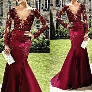 Burgundy Long Sleeves Seen Through Deep V Neck Sexy Prom Dresses, PM0035 - Prom Muse