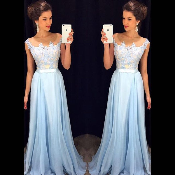 Blue Applique Formal Teenage Cheap Long Lace Prom Dresses, PM0036 - Prom Muse