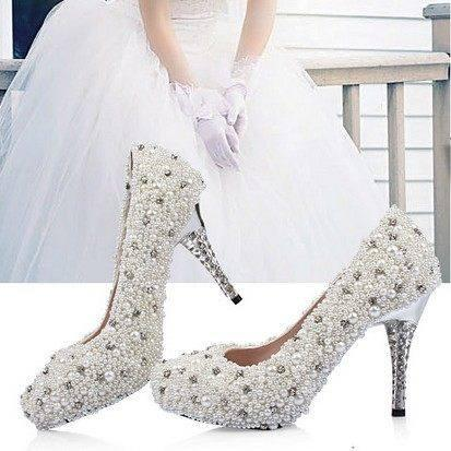 Popular Handmade Pearls Rhinestone Pointed Toe Crystal Wedding Shoes, S027 - Prom Muse