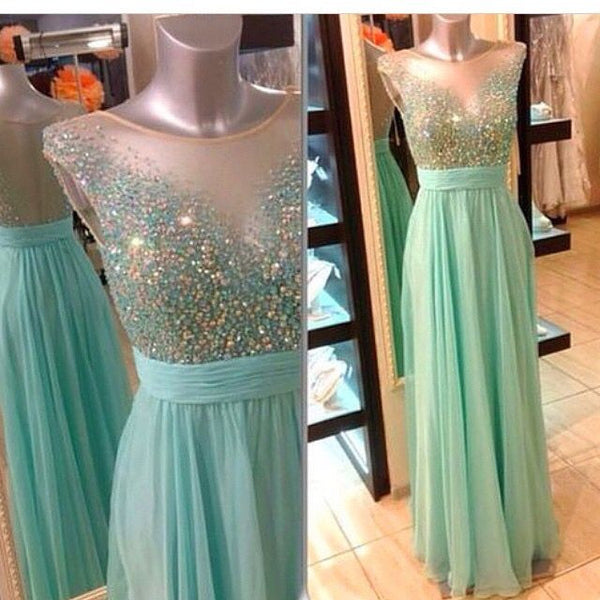 Beaded Top Popular Teenage Pretty Long Prom Dresses, PM0037 - Prom Muse