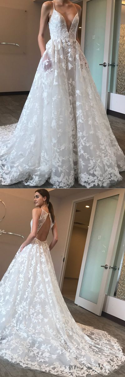 Charming Open Back Spaghetti Strap Formal Long Beach Wedding Dresses, PM0640