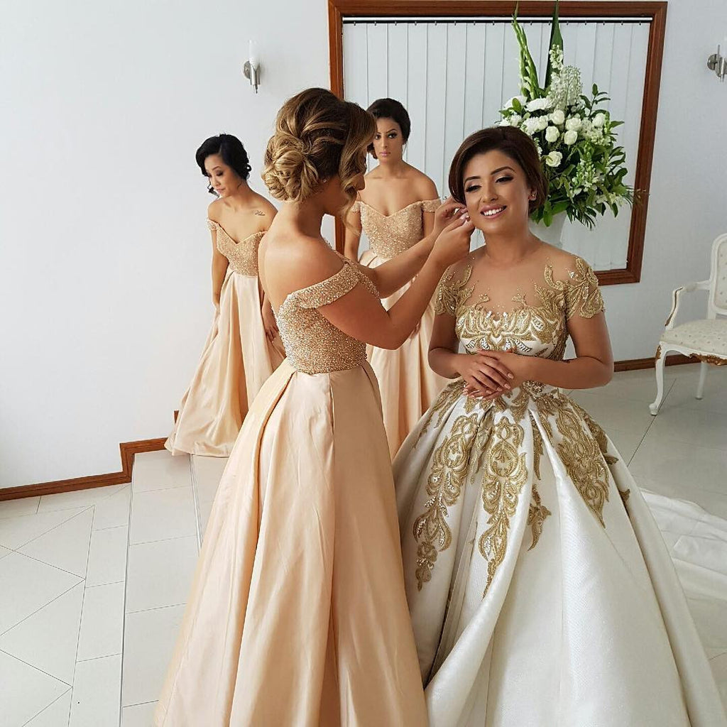 Off the Shoulder Sweetheart Long Wedding Bridesmaid Dresses, PM02160 - Prom Muse