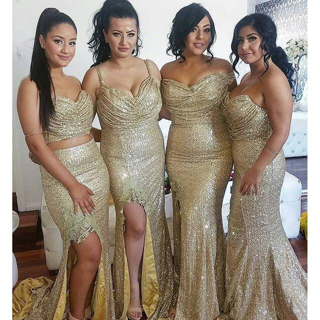 2017 Sequin Mismatched Long Split Wedding Bridesmaid Dresses, WG381