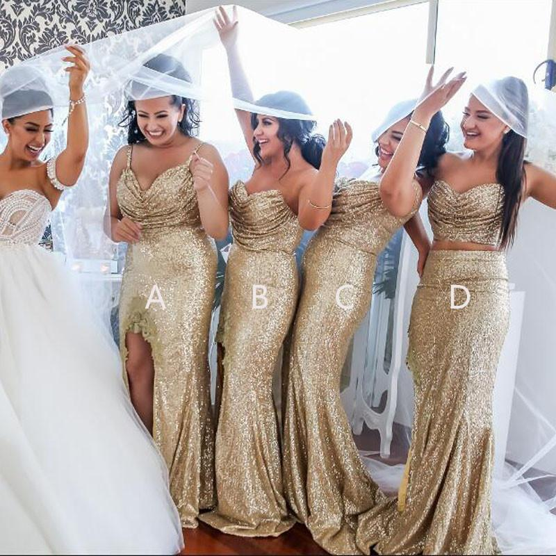 Sequin Mismatched Long Split Wedding Bridesmaid Dresses, WG381